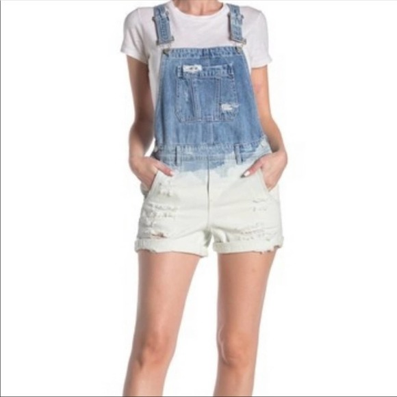 Blank NYC Bleached Short Overalls NWT
